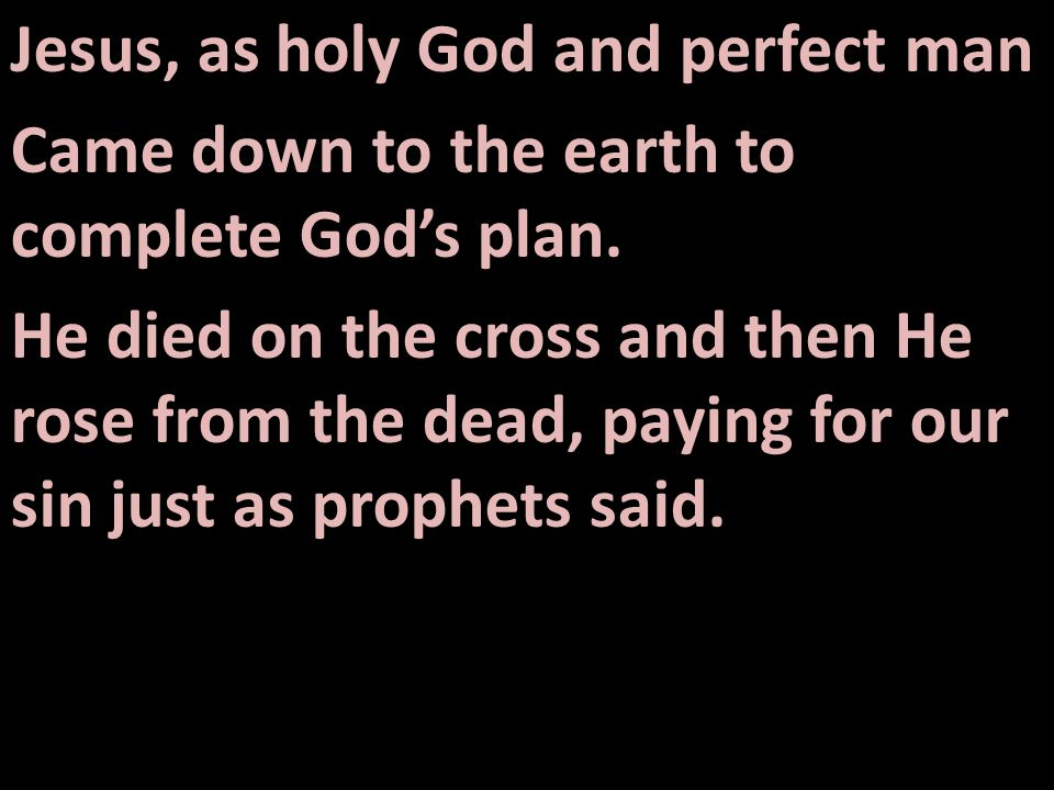 Jesus, as holy God and perfect man Came down to the earth to complete God's plan.