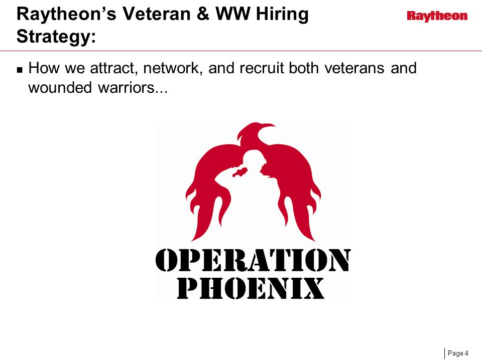 Page 4 Raytheon's Veteran & WW Hiring Strategy: How we attract, network, and recruit both veterans and wounded warriors...