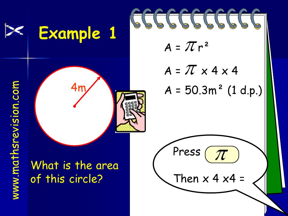 www.mathsrevision.com Area of a circle A = r² Area = x radius There is a special formula for the area of a circle.