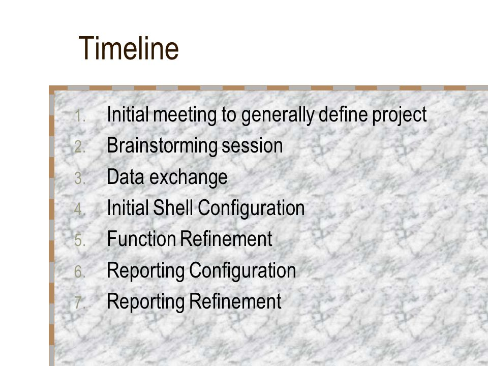 Timeline 1. Initial meeting to generally define project 2.