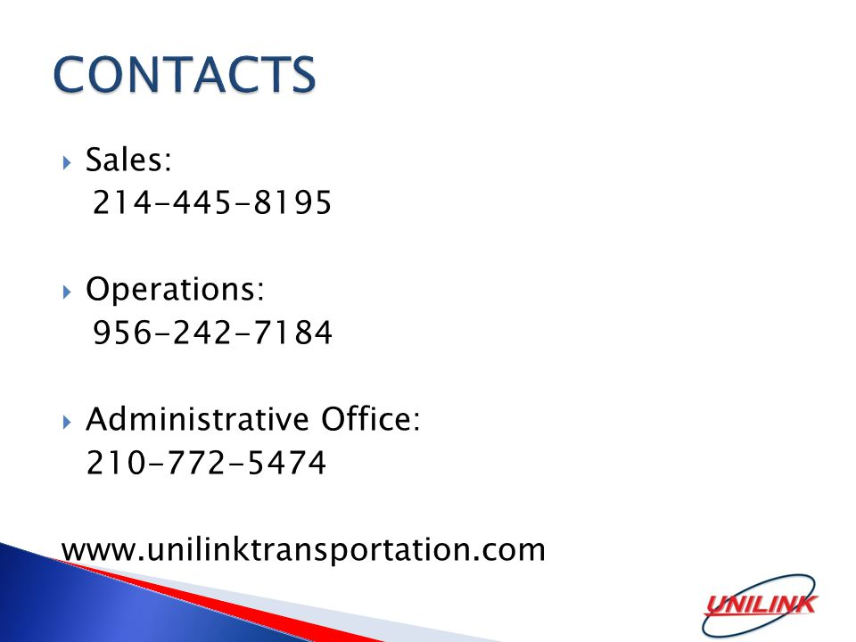  Sales:  Operations:  Administrative Office: