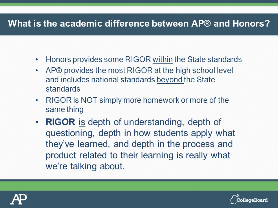 Honors provides some RIGOR within the State standards AP® provides the most RIGOR at the high school level and includes national standards beyond the State standards RIGOR is NOT simply more homework or more of the same thing RIGOR is depth of understanding, depth of questioning, depth in how students apply what they've learned, and depth in the process and product related to their learning is really what we're talking about.
