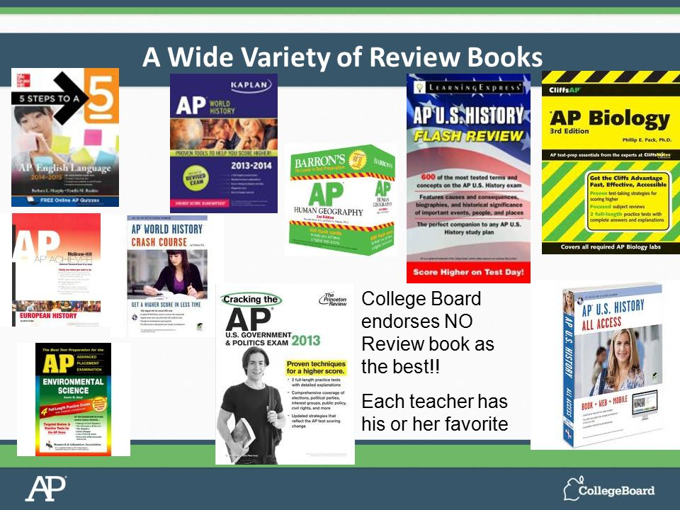 67%33%100% 67% A*B*CDE 0 1 2 3 A Wide Variety of Review Books College Board endorses NO Review book as the best!.