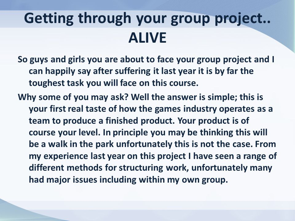 Getting through your group project..