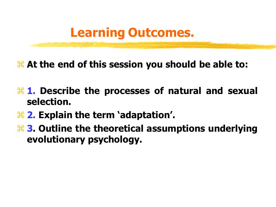 Learning Outcomes. zAt the end of this session you should be able to: z1.
