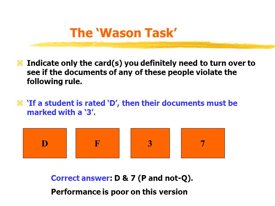 The 'Wason Task' zIndicate only the card(s) you definitely need to turn over to see if the documents of any of these people violate the following rule.