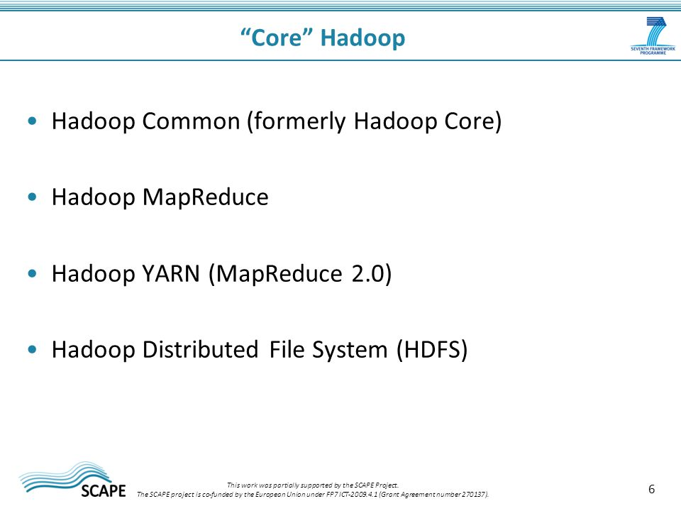 6 Core Hadoop This work was partially supported by the SCAPE Project.