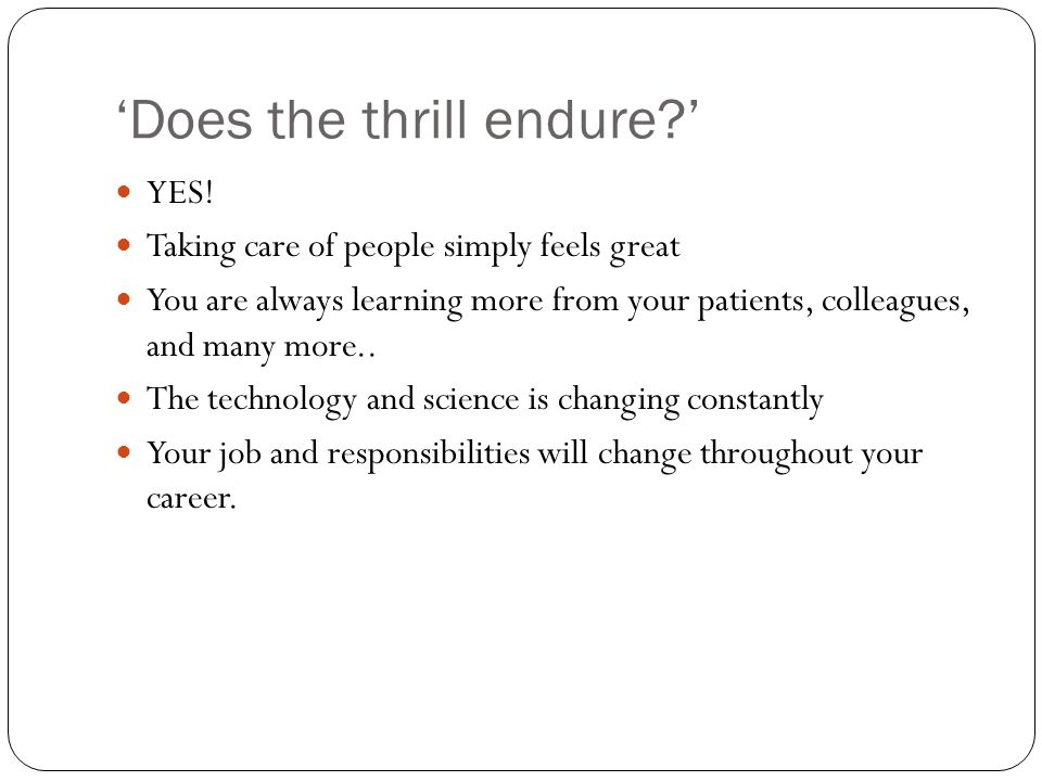 'Does the thrill endure ' YES.