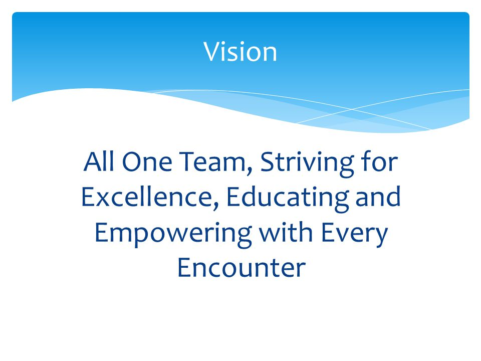 All One Team, Striving for Excellence, Educating and Empowering with Every Encounter Vision