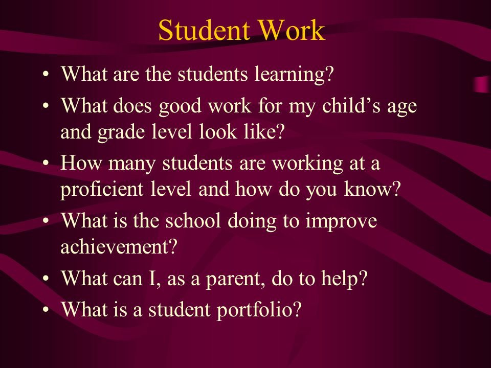 Student Work What are the students learning.