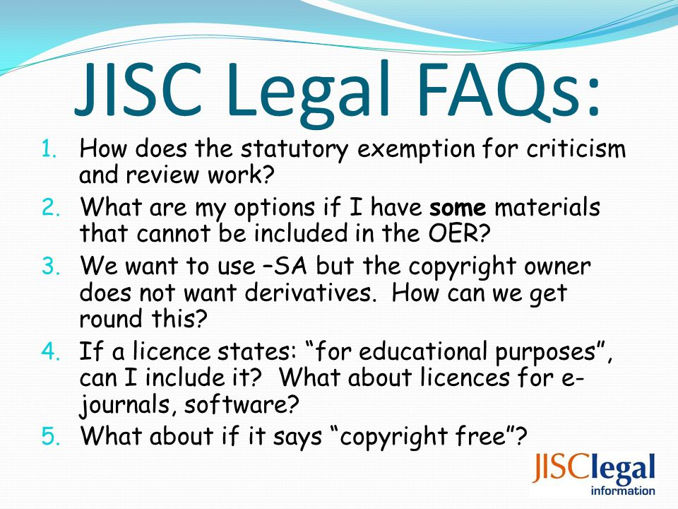 JISC Legal FAQs: 1. How does the statutory exemption for criticism and review work.