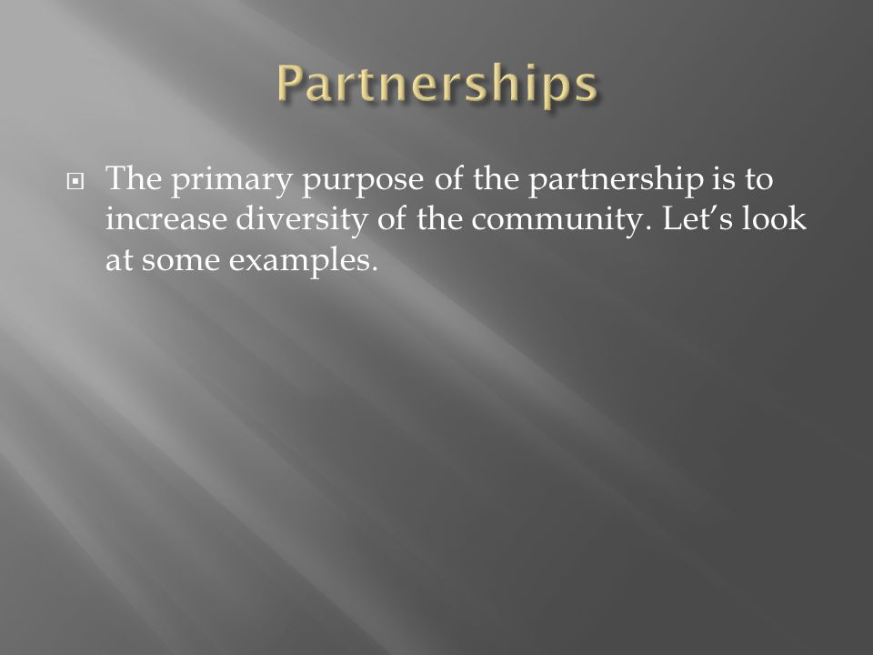  The primary purpose of the partnership is to increase diversity of the community.