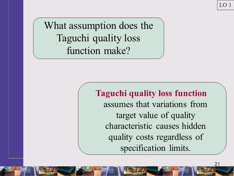 21 What assumption does the Taguchi quality loss function make.