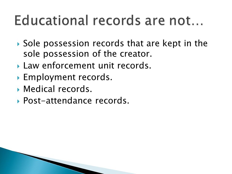  Sole possession records that are kept in the sole possession of the creator.