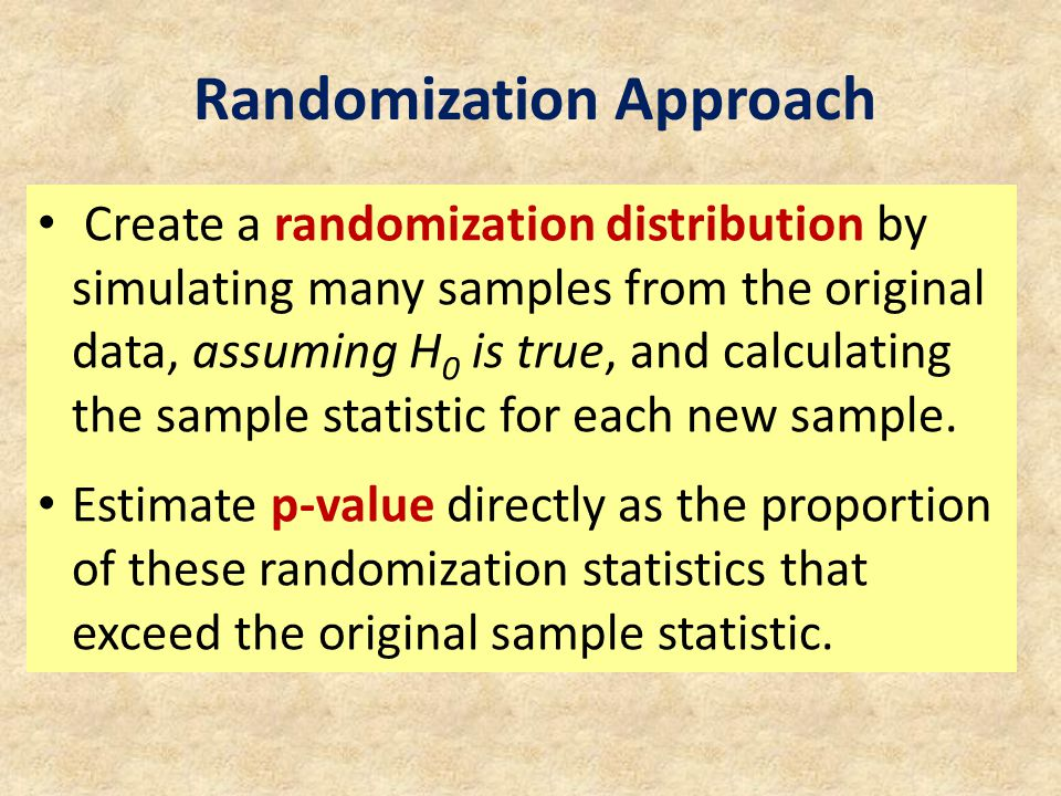 Create a randomization distribution by simulating many samples from the original data, assuming H 0 is true, and calculating the sample statistic for each new sample.