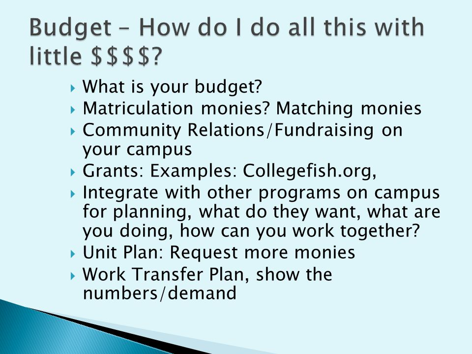  What is your budget.  Matriculation monies.
