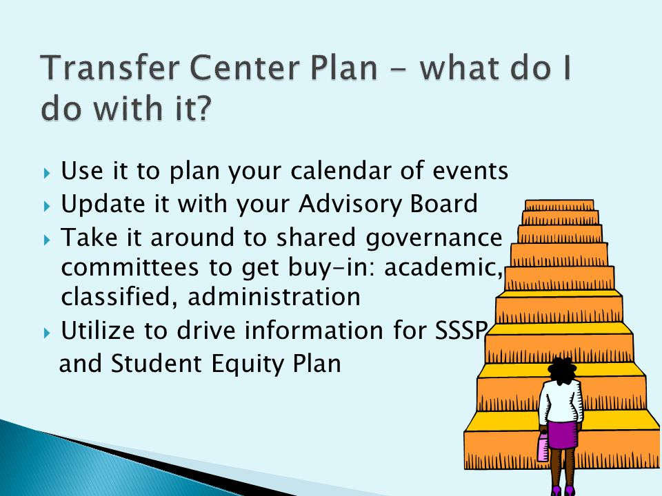  Use it to plan your calendar of events  Update it with your Advisory Board  Take it around to shared governance committees to get buy-in: academic, classified, administration  Utilize to drive information for SSSP and Student Equity Plan