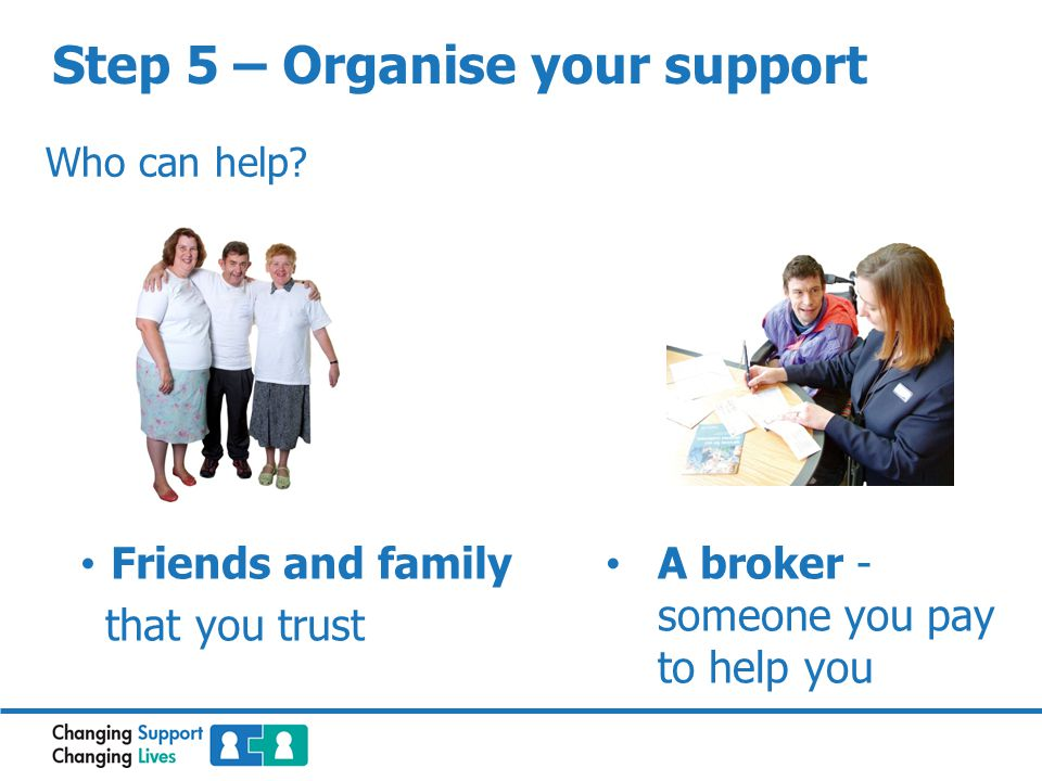 Step 5 – Organise your support Who can help.