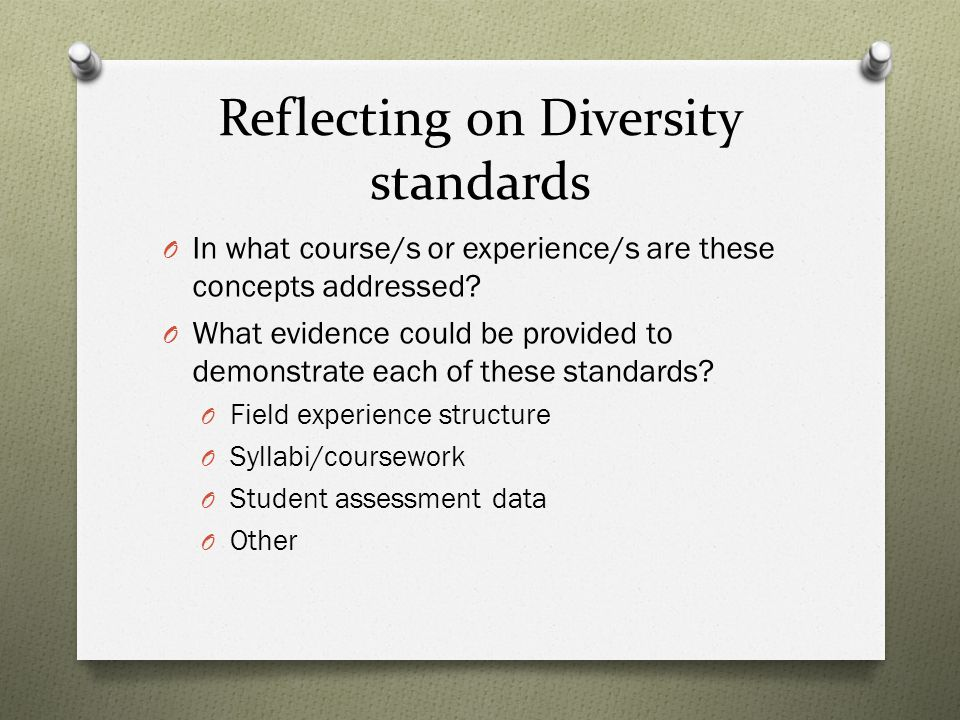 Reflecting on Diversity standards O In what course/s or experience/s are these concepts addressed.