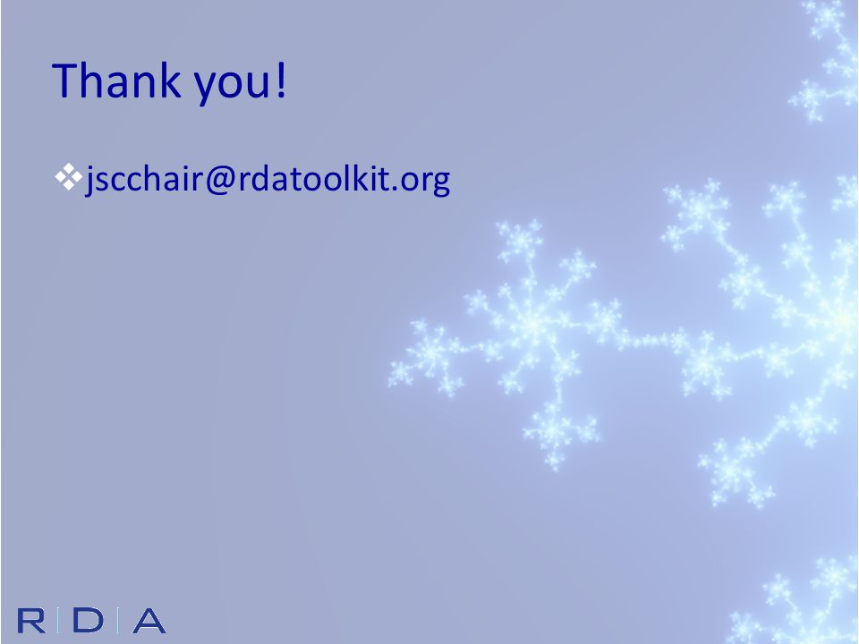 Thank you!  jscchair@rdatoolkit.org