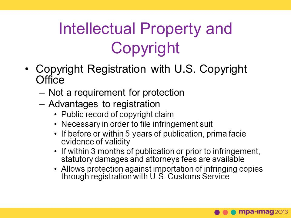 Intellectual Property and Copyright Copyright Registration with U.S.