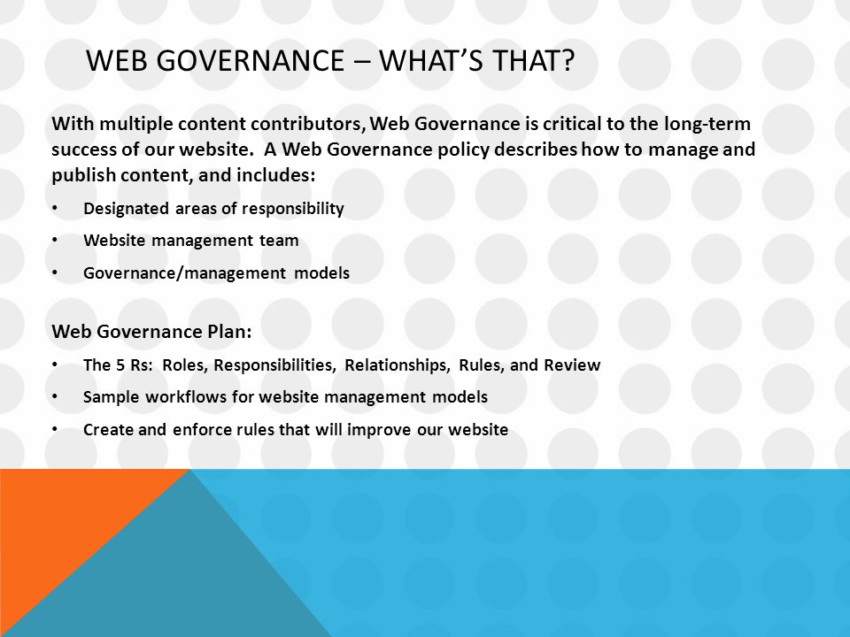 WEB GOVERNANCE – WHAT'S THAT.