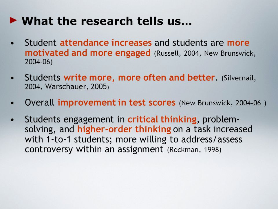 What the research tells us… Student attendance increases and students are more motivated and more engaged (Russell, 2004, New Brunswick, 2004-06) Students write more, more often and better.