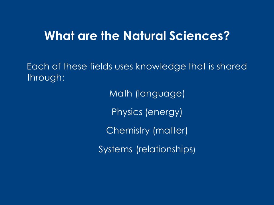 What are the Natural Sciences.