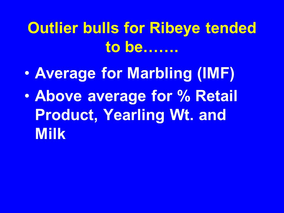 Outlier bulls for Ribeye tended to be…….
