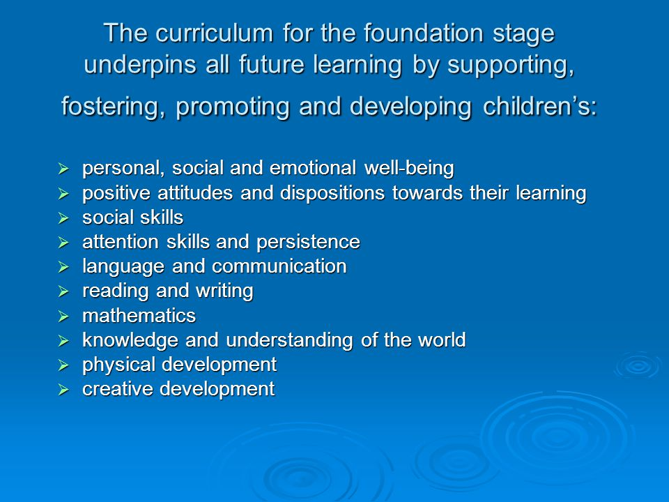 The curriculum for the foundation stage underpins all future learning by supporting, fostering, promoting and developing children's:  personal, social and emotional well-being  positive attitudes and dispositions towards their learning  social skills  attention skills and persistence  language and communication  reading and writing  mathematics  knowledge and understanding of the world  physical development  creative development