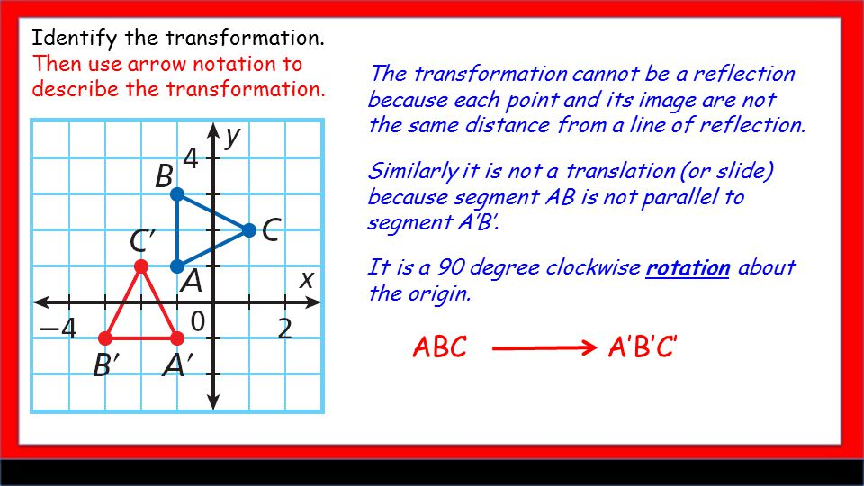 Identify the transformation. Then use arrow notation to describe the transformation.