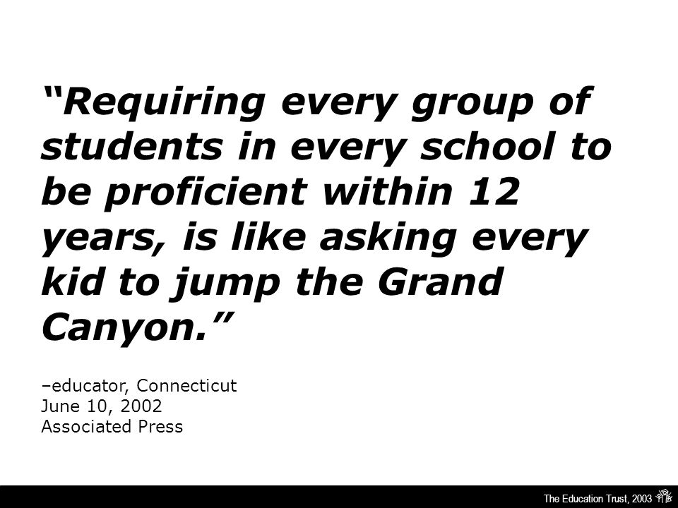 The Education Trust, 2003 Requiring every group of students in every school to be proficient within 12 years, is like asking every kid to jump the Grand Canyon. –educator, Connecticut June 10, 2002 Associated Press
