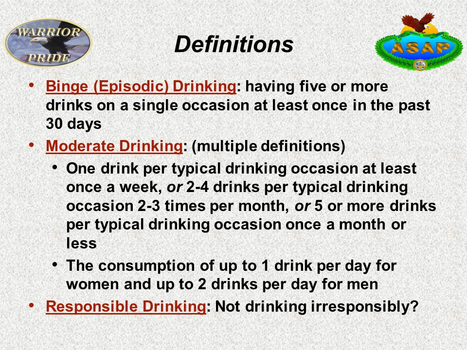 Definitions Binge (Episodic) Drinking: having five or more drinks on a single occasion at least once in the past 30 days Moderate Drinking: (multiple definitions) One drink per typical drinking occasion at least once a week, or 2-4 drinks per typical drinking occasion 2-3 times per month, or 5 or more drinks per typical drinking occasion once a month or less The consumption of up to 1 drink per day for women and up to 2 drinks per day for men Responsible Drinking: Not drinking irresponsibly