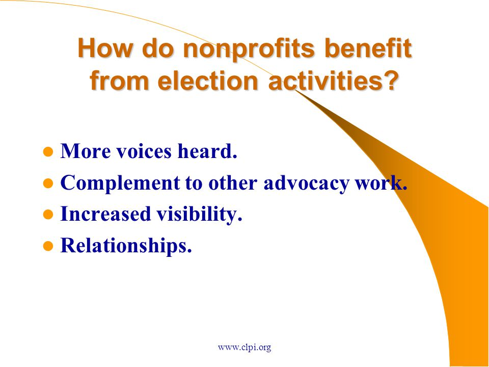 How do nonprofits benefit from election activities.