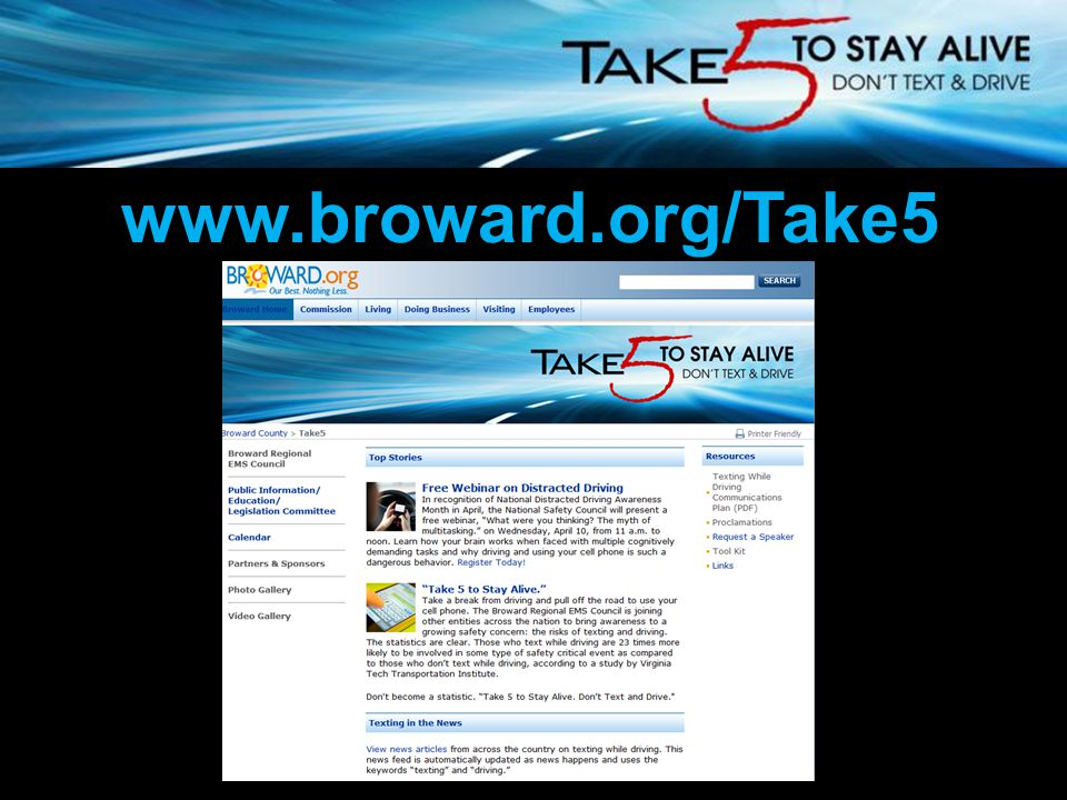 Broward Regional EMS Council www.broward.org/Take5