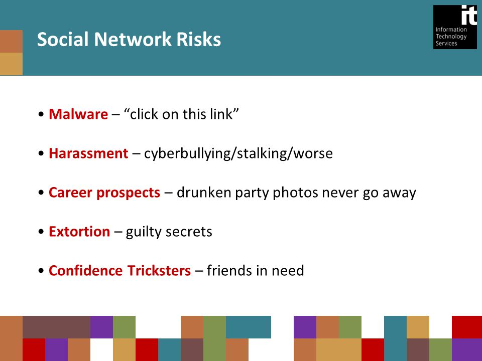 Social Network Risks Malware – click on this link Harassment – cyberbullying/stalking/worse Career prospects – drunken party photos never go away Extortion – guilty secrets Confidence Tricksters – friends in need