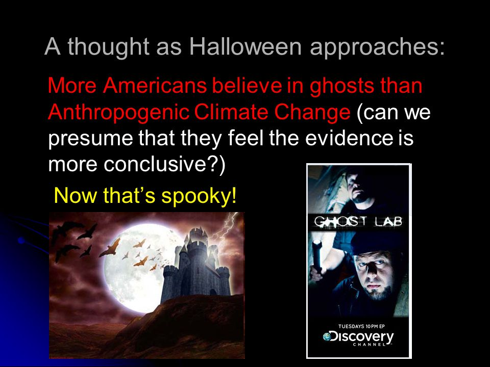 A thought as Halloween approaches: More Americans believe in ghosts than Anthropogenic Climate Change (can we presume that they feel the evidence is more conclusive ) Now that's spooky!