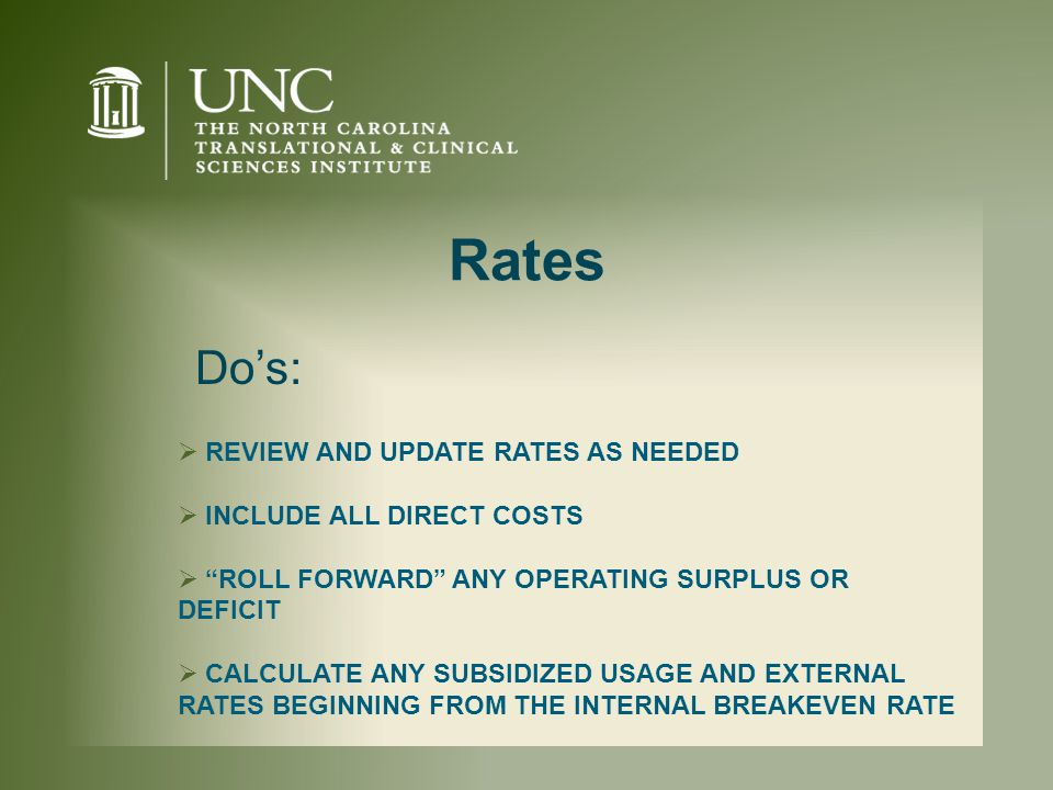 Rates  REVIEW AND UPDATE RATES AS NEEDED  INCLUDE ALL DIRECT COSTS  ROLL FORWARD ANY OPERATING SURPLUS OR DEFICIT  CALCULATE ANY SUBSIDIZED USAGE AND EXTERNAL RATES BEGINNING FROM THE INTERNAL BREAKEVEN RATE Do's: