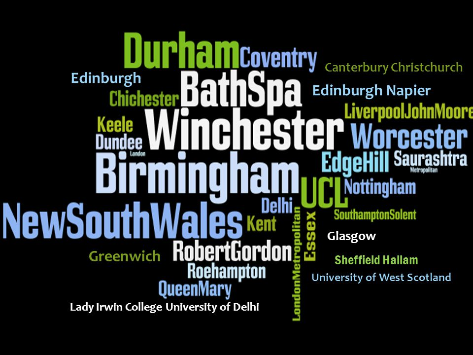 Edinburgh Edinburgh Napier Greenwich Canterbury Christchurch Glasgow Lady Irwin College University of Delhi University of West Scotland Sheffield Hallam