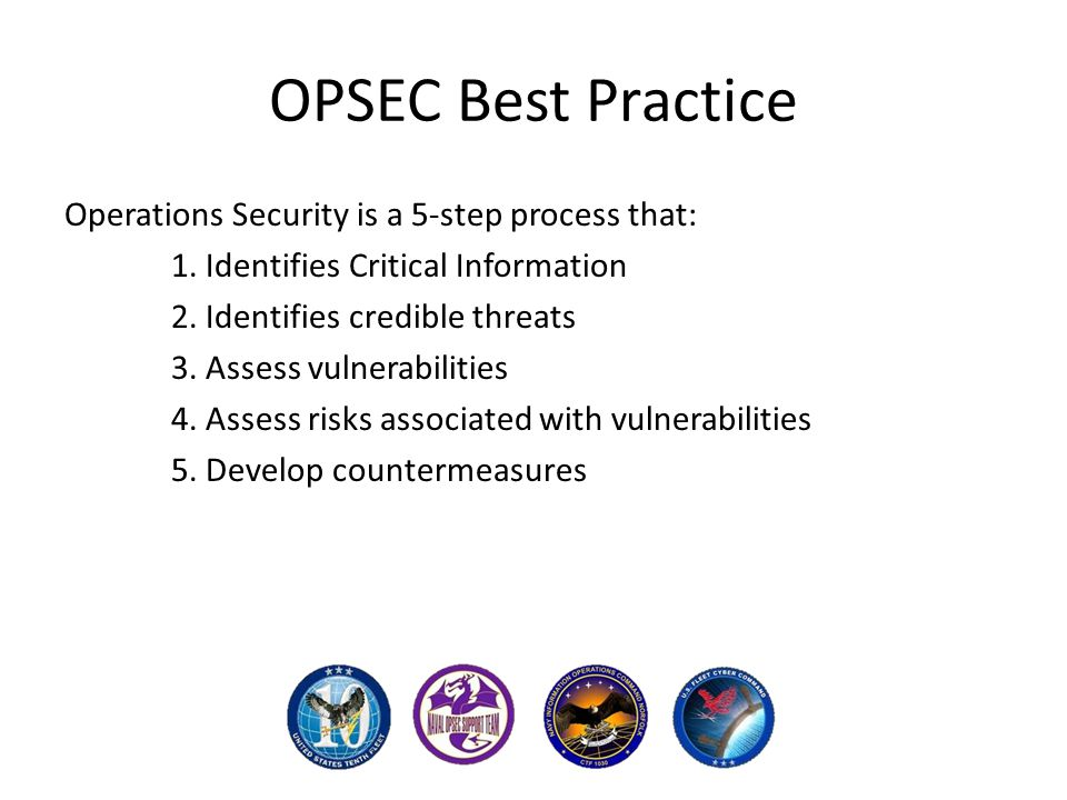 OPSEC Best Practice Operations Security is a 5-step process that: 1.