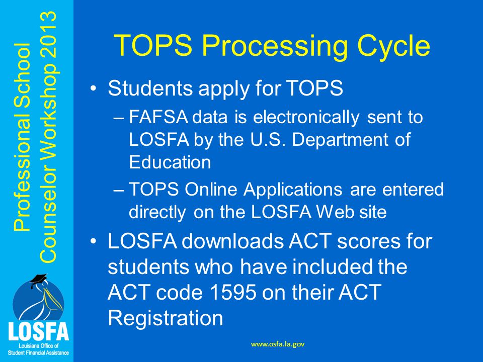 Professional School Counselor Workshop 2013 TOPS Processing Cycle Students apply for TOPS –FAFSA data is electronically sent to LOSFA by the U.S.