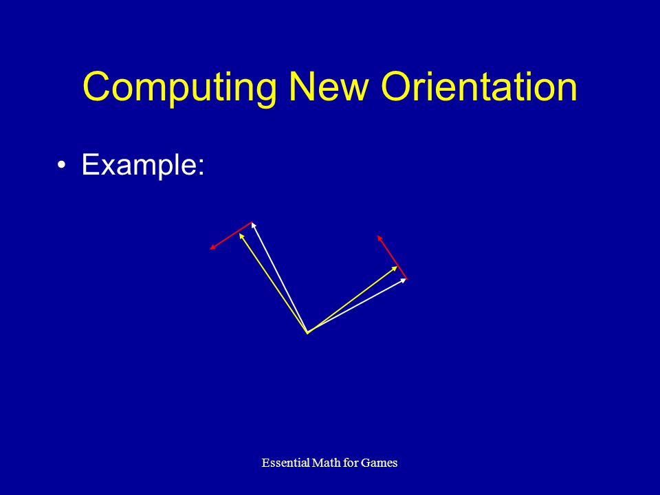 Essential Math for Games Computing New Orientation Example: