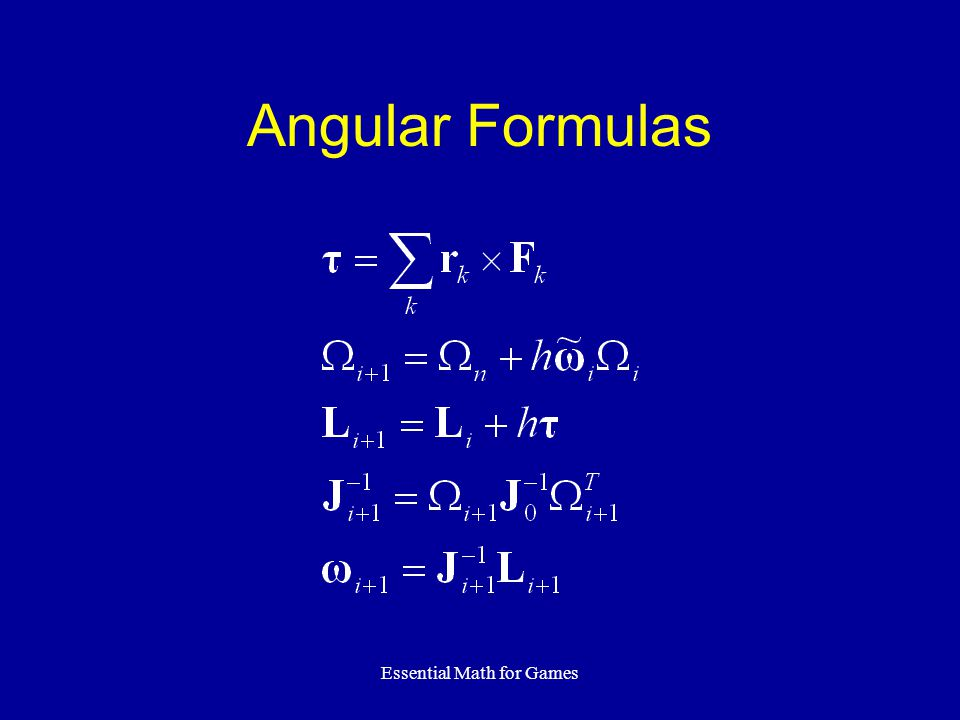 Essential Math for Games Angular Formulas