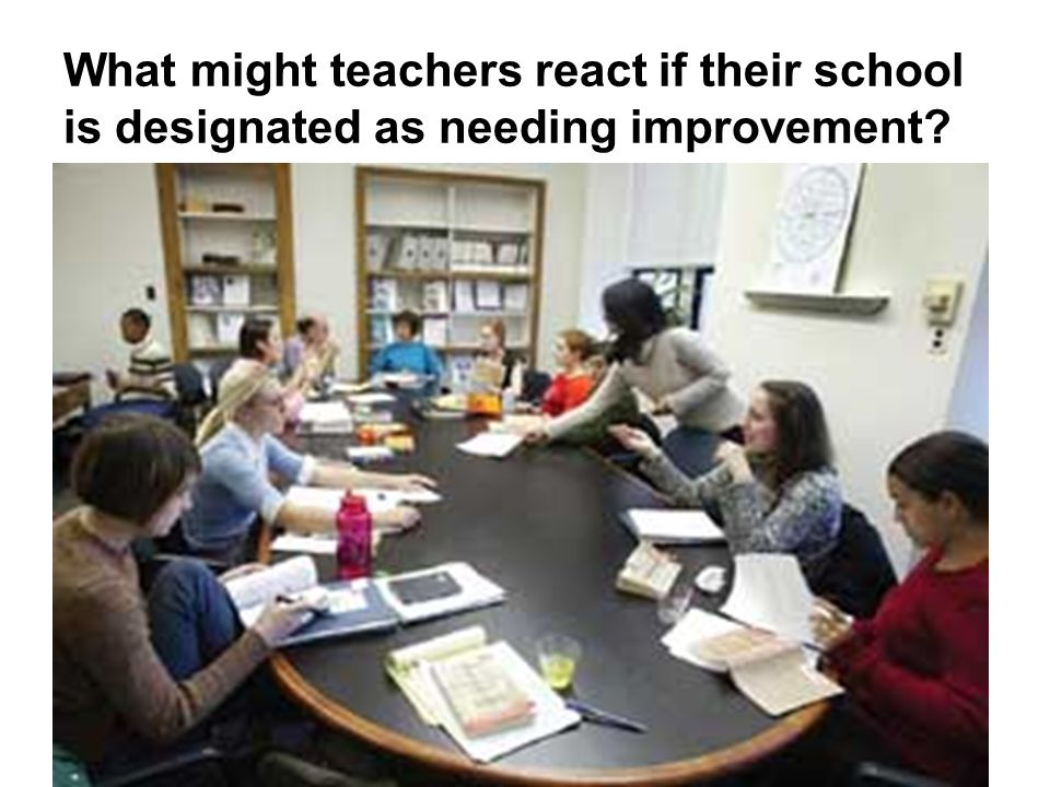What might teachers react if their school is designated as needing improvement