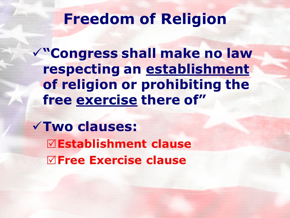 The first amendment— 5 rights mentioned Freedom of Speech Freedom of Religion Freedom of the Press Freedom of Assembly Right to petition the government