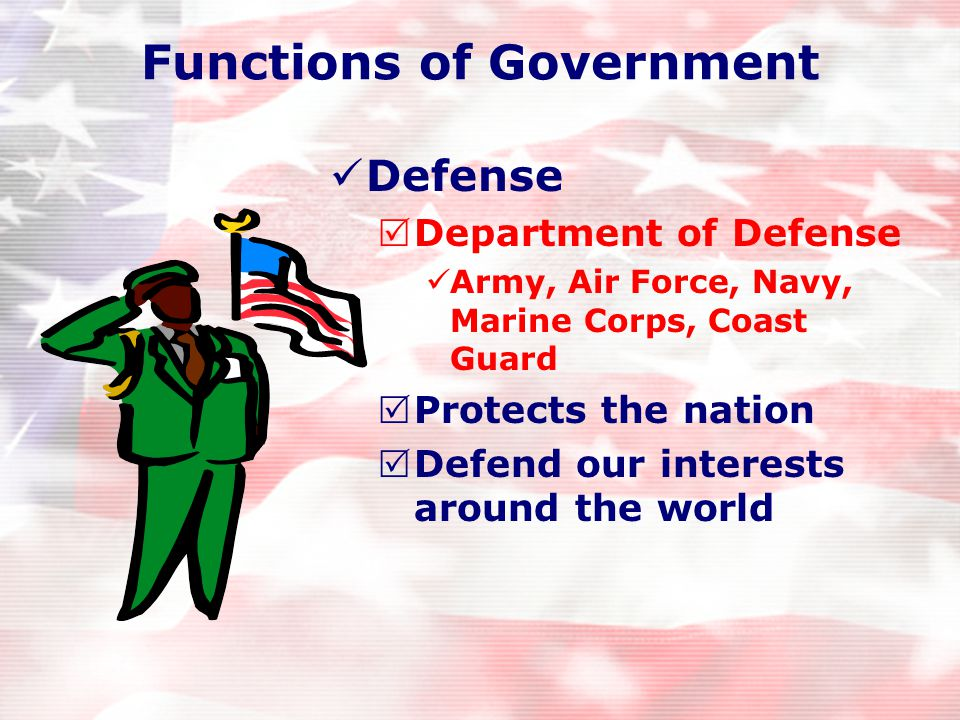 Functions of Government 1.Defense 2.Law Enforcement 3.Postal System 4.Highways 5.Veterans Benefits 6.Welfare 7.Social Security 8.Foreign Relations 9.Natural Resources 10.Agriculture