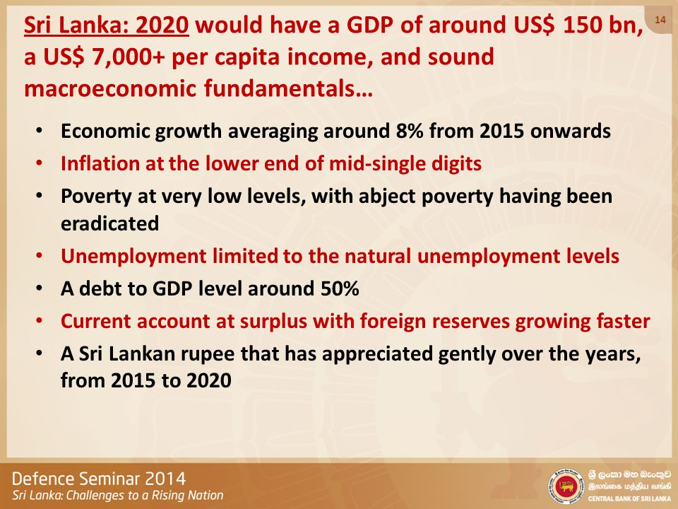 Sri Lanka: 2020 would have a GDP of around US$ 150 bn, a US$ 7,000+ per capita income, and sound macroeconomic fundamentals… Economic growth averaging around 8% from 2015 onwards Inflation at the lower end of mid-single digits Poverty at very low levels, with abject poverty having been eradicated Unemployment limited to the natural unemployment levels A debt to GDP level around 50% Current account at surplus with foreign reserves growing faster A Sri Lankan rupee that has appreciated gently over the years, from 2015 to 2020 14