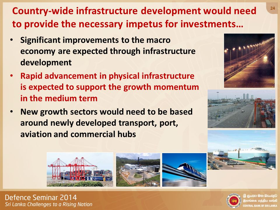 Country-wide infrastructure development would need to provide the necessary impetus for investments… Significant improvements to the macro economy are expected through infrastructure development Rapid advancement in physical infrastructure is expected to support the growth momentum in the medium term New growth sectors would need to be based around newly developed transport, port, aviation and commercial hubs 24