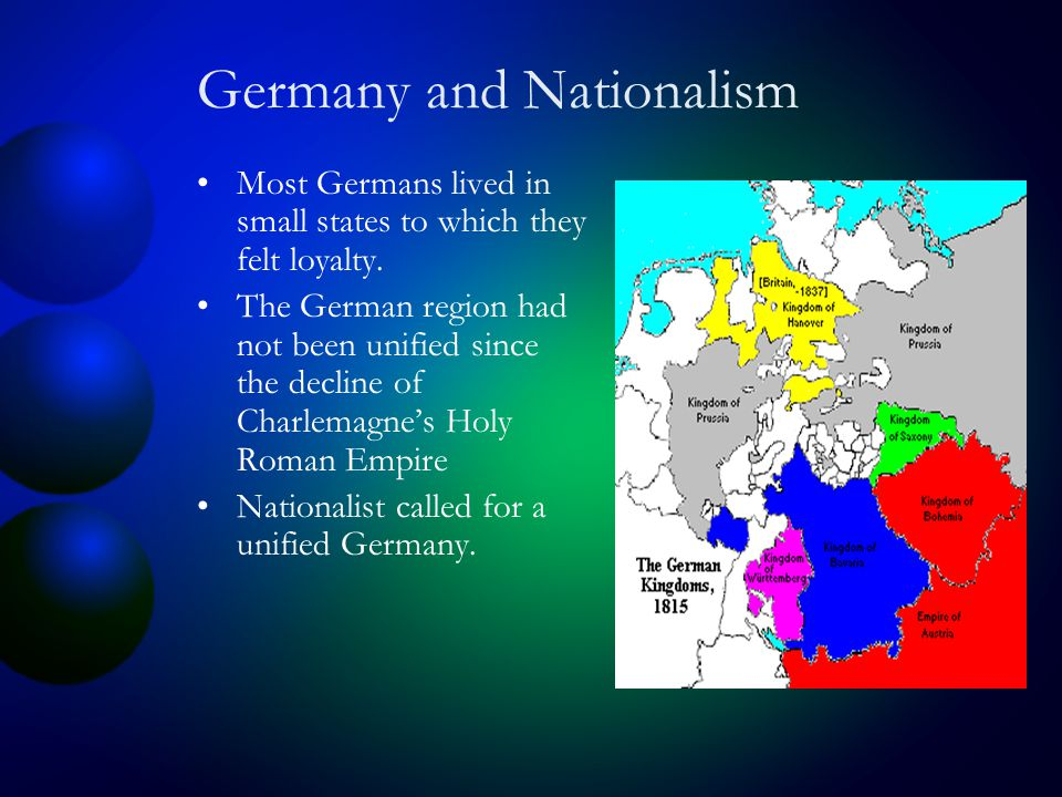 Germany and Nationalism Most Germans lived in small states to which they felt loyalty.