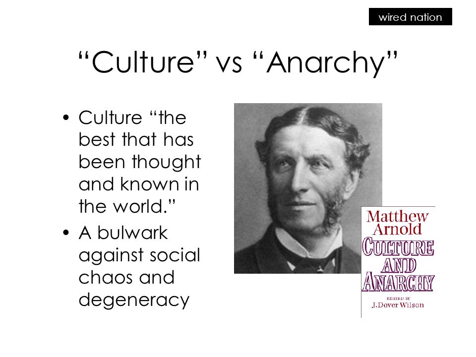 wired nation Culture vs Anarchy Culture the best that has been thought and known in the world. A bulwark against social chaos and degeneracy